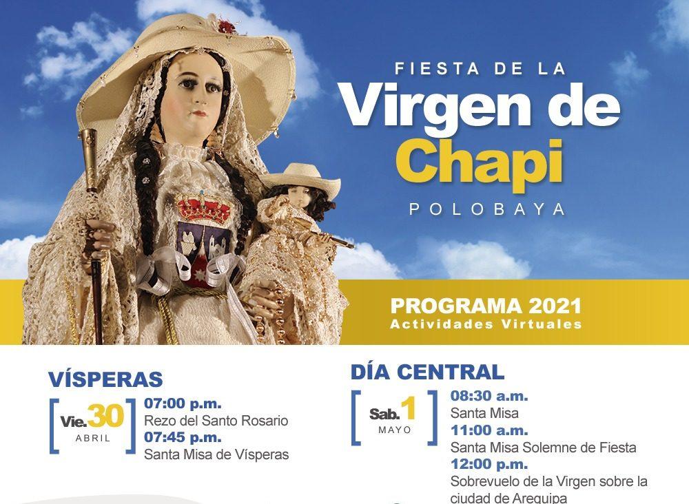 """Actividades por la festividad de la """"Virgen de Chapi"""" se desarrollarán de manera virtual para evitar aglomeración de personas"""