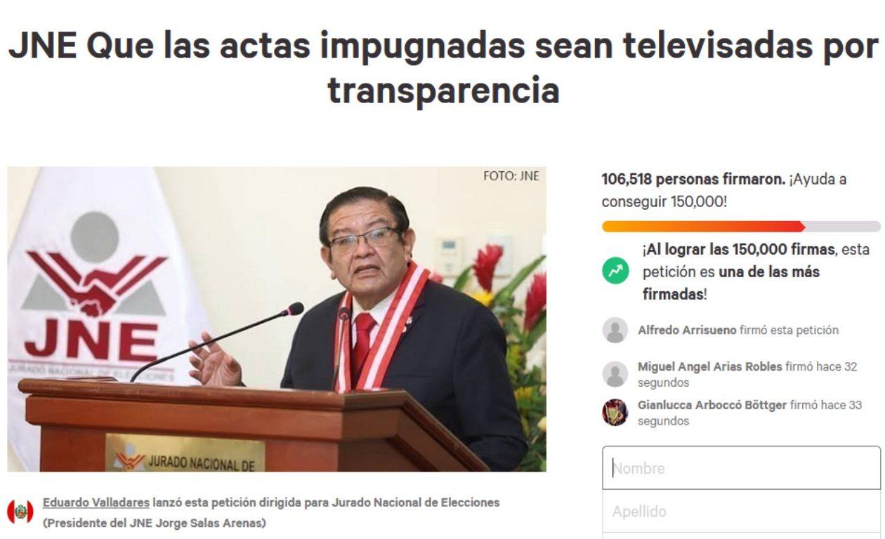 Ciudadanos solicitan al JNE que resolución de actas impugnadas sean televisadas