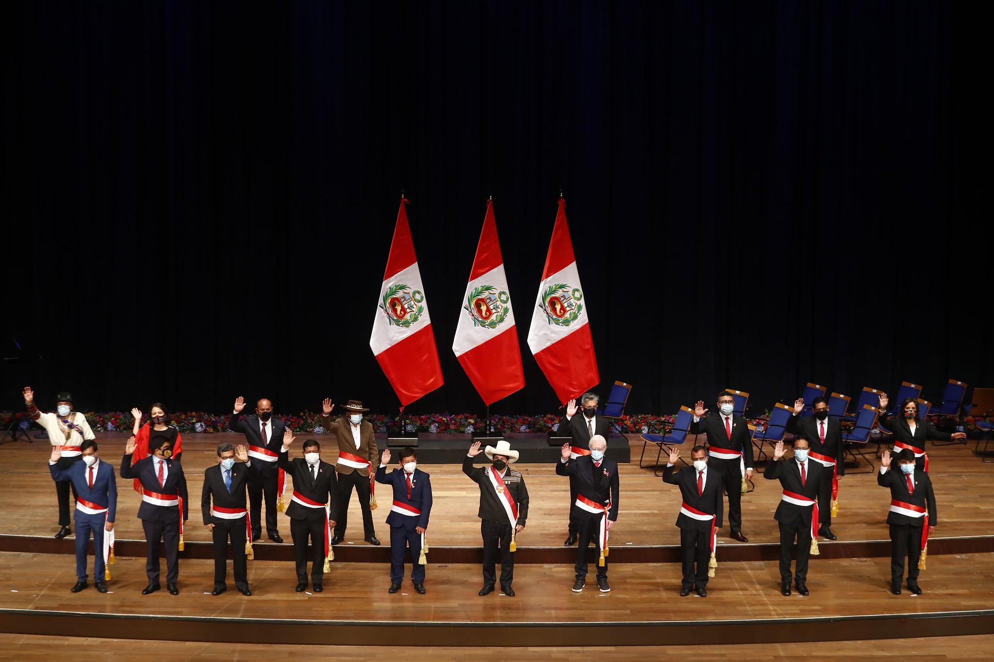 Primer Gabinete Ministerial de Pedro Castillo juramento la noche del jueves
