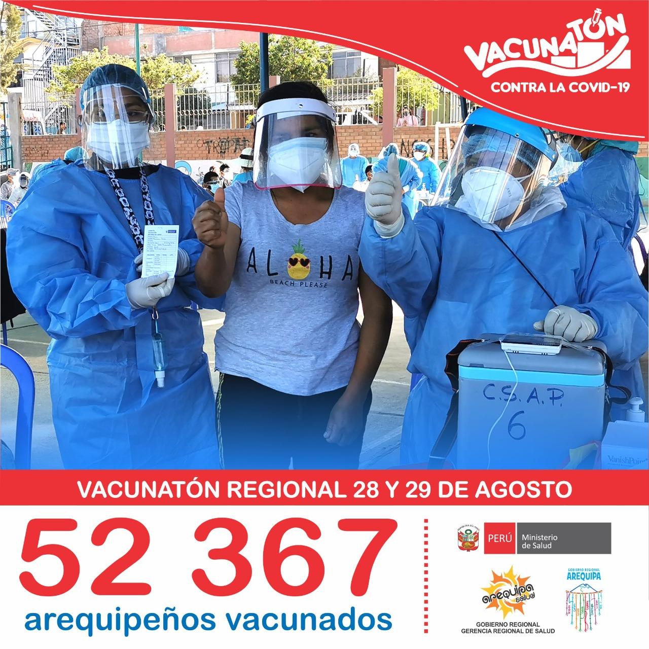 Vacunatón realizado este fin de semana en Arequipa fue un éxito, lograndose superar la meta proyectada