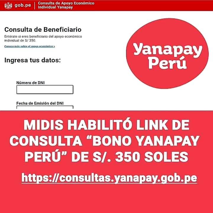 CONSULTA AQUÍ. Midis habilitó la página web para consultar quienes son beneficiarios del bono YANAPAY PERU