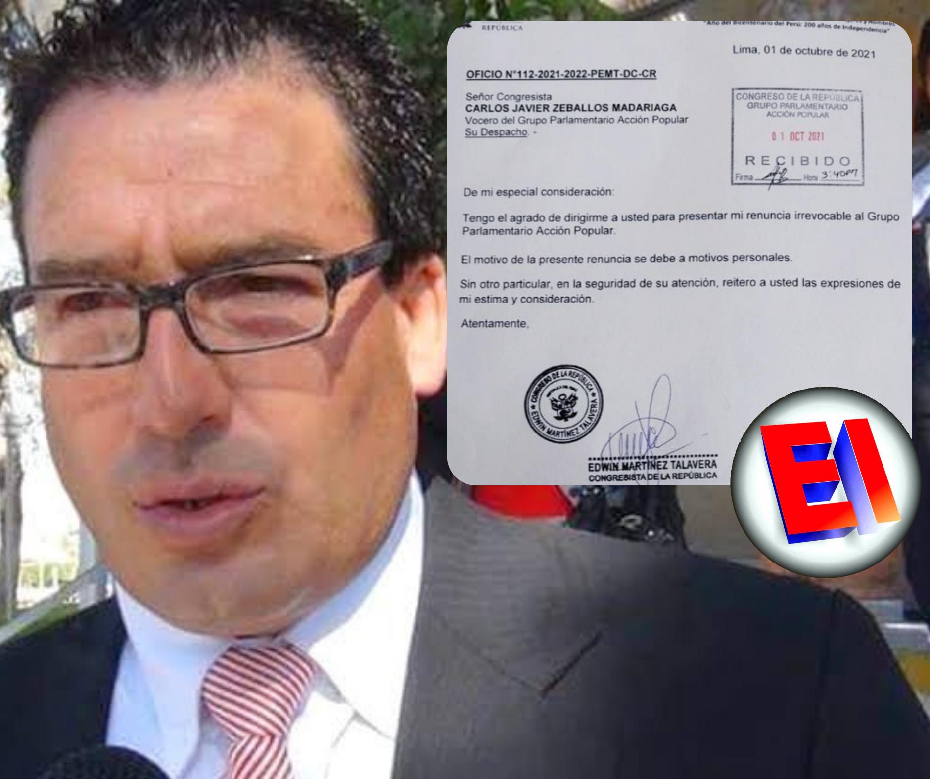 Congresista acciopopulista Edwin Martínez renunció a su bancada